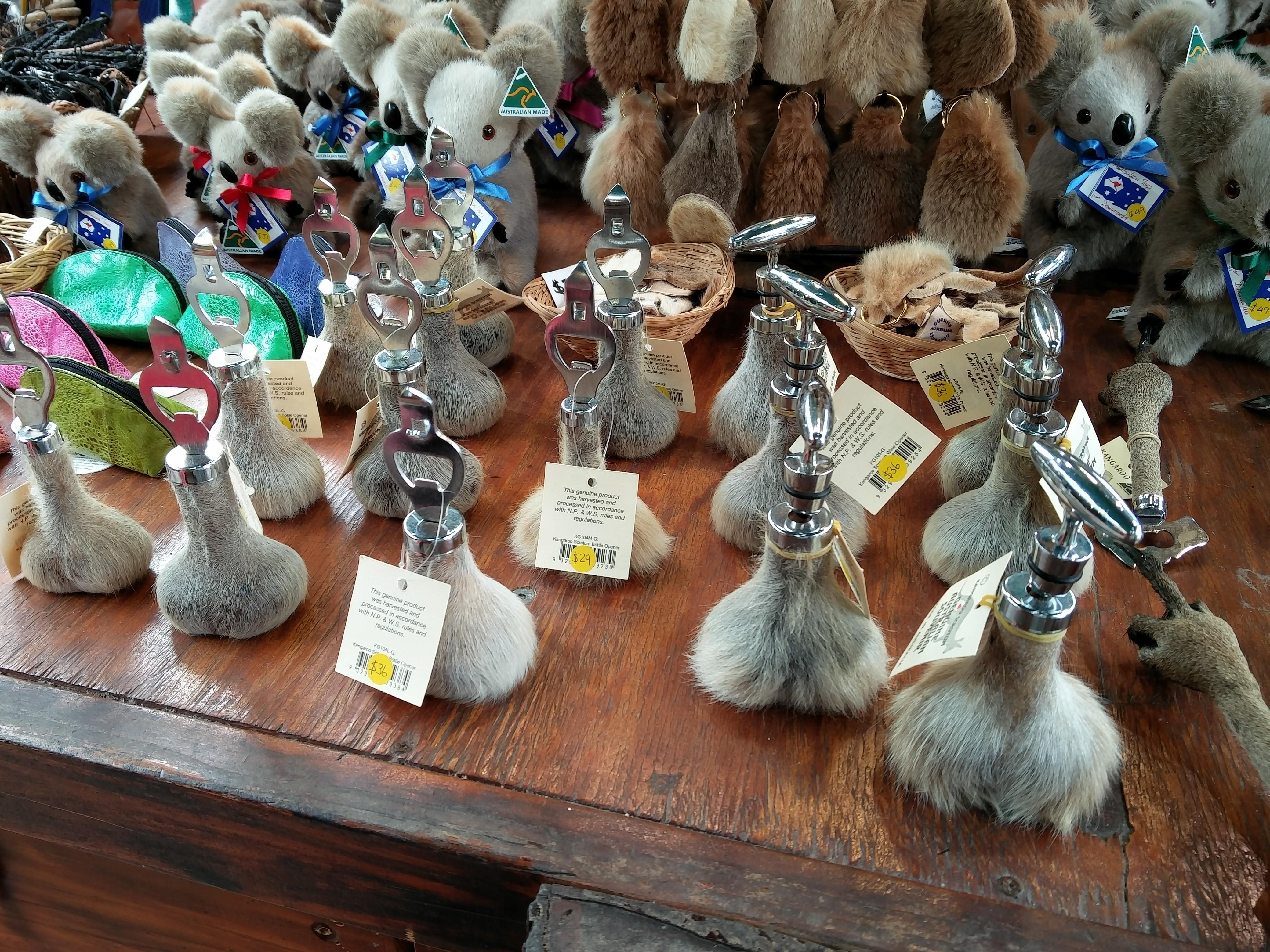 bottle openers mounted on kangaroo scrotums